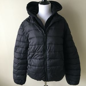 Guess Boy's Puffer Jacket featuring attached hood